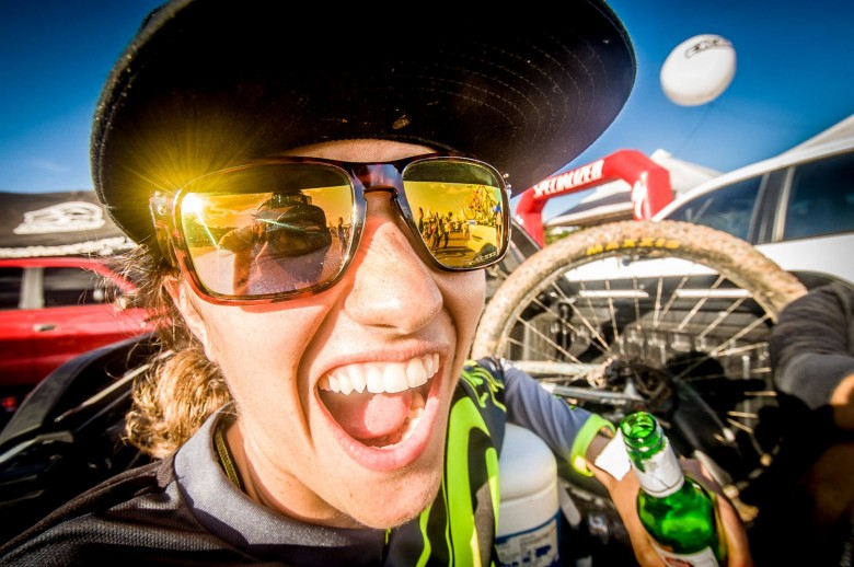 All smiles and the after race can - this is Enduro!