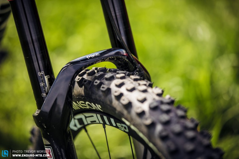 Much like the majority of EWS racer's, Bryan trusts in the RockShox Pike, but runs it quite firm on all stages