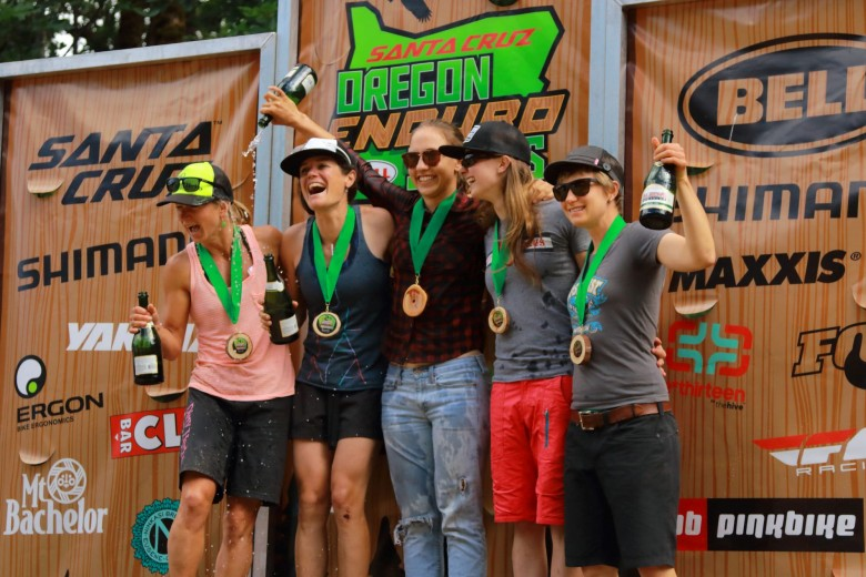 The pro women are always stoked to race. Andriane Lanthier (1rst), Kelli Emmett (2nd), Kim Russell (3rd), Jenny Konway (4th), and Rebekah Rottenberg (5th)