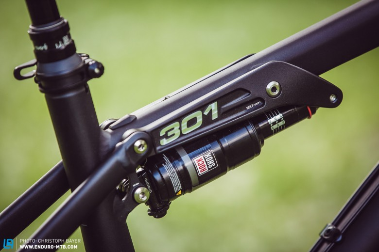 New on the 301 – Where once FOX reigned, there's now a Monarch RT3 DebonAir with decent platform damping sitting proudly astride the 301. Nice details part 3: there's a SAG reader located on the pivot that keeps the rider fully in the loop as the details can be read from above.