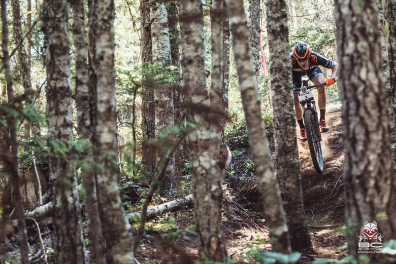 Spencer Paxson drops into the first trail of the week -Further Burger -leading the pack.