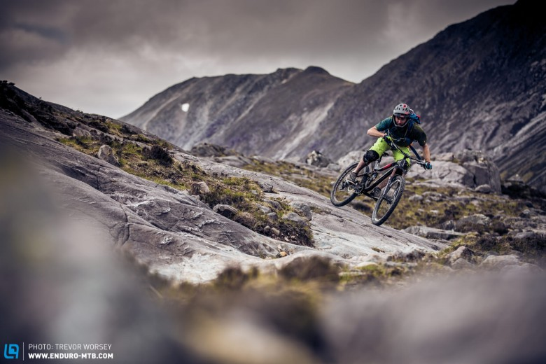 This is what enduro bikes were built for, flat out in big mountain terrain
