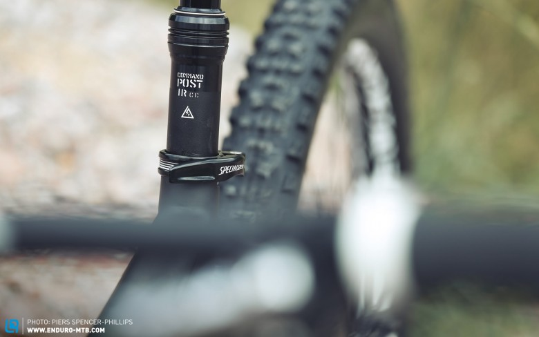 """The Command Post IRcc seatpost features 12 positions of up to 125mm of height adjustability for a more customizable position, ultimately resulting in more control and increased handling on both climbs and descents""."