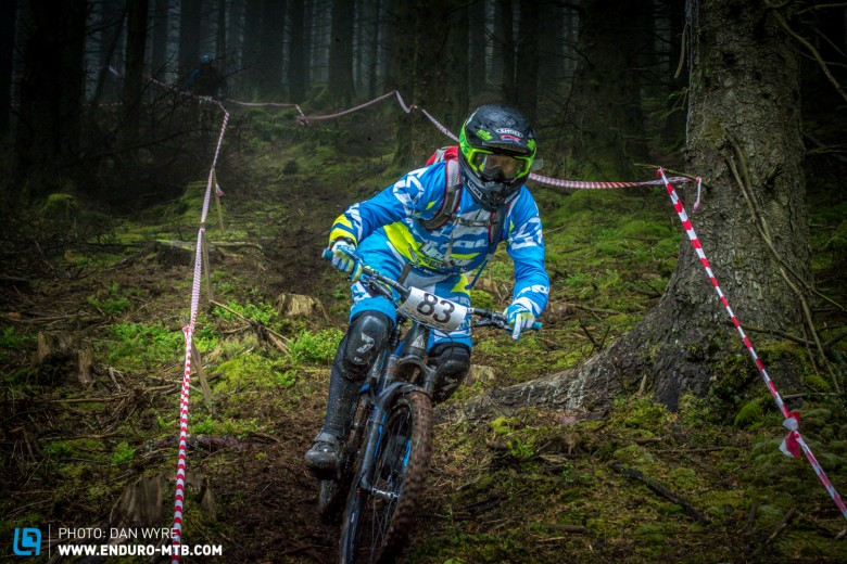 Factory Stu, proving he still has what it takes, he loved the blind racing enduro format.