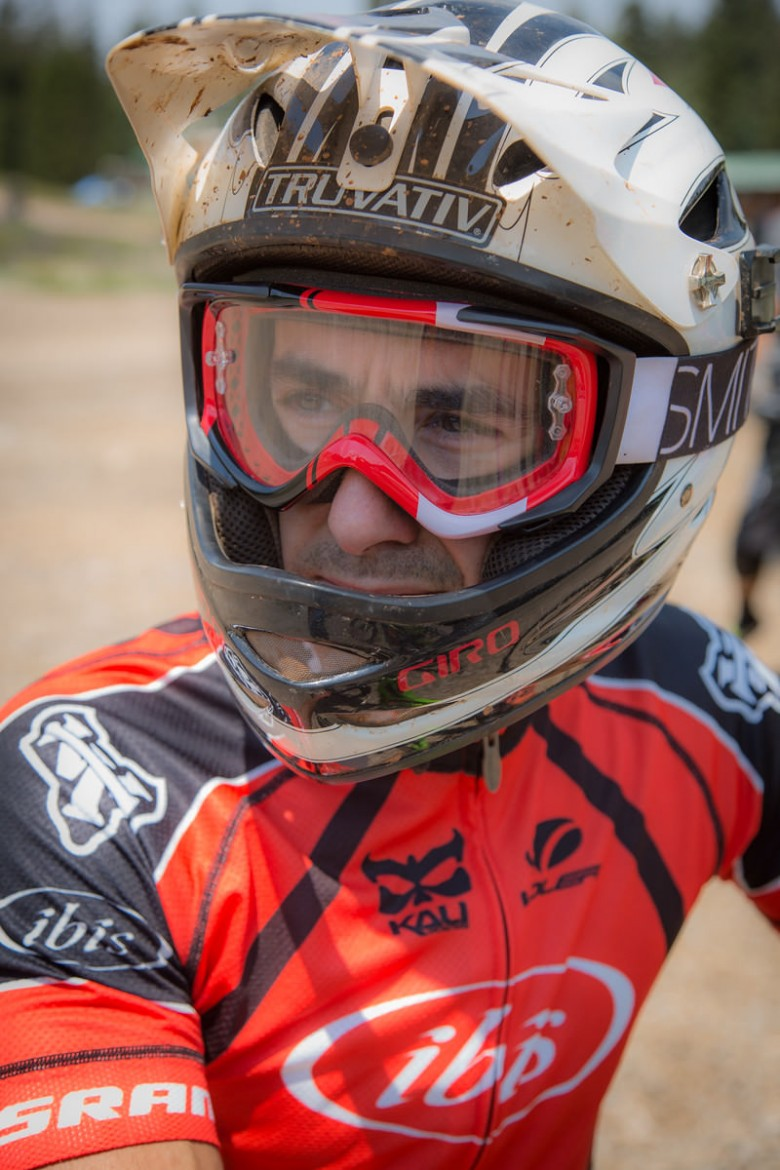 """""""An Ibis rider waits in line for Practice on Friday."""""""