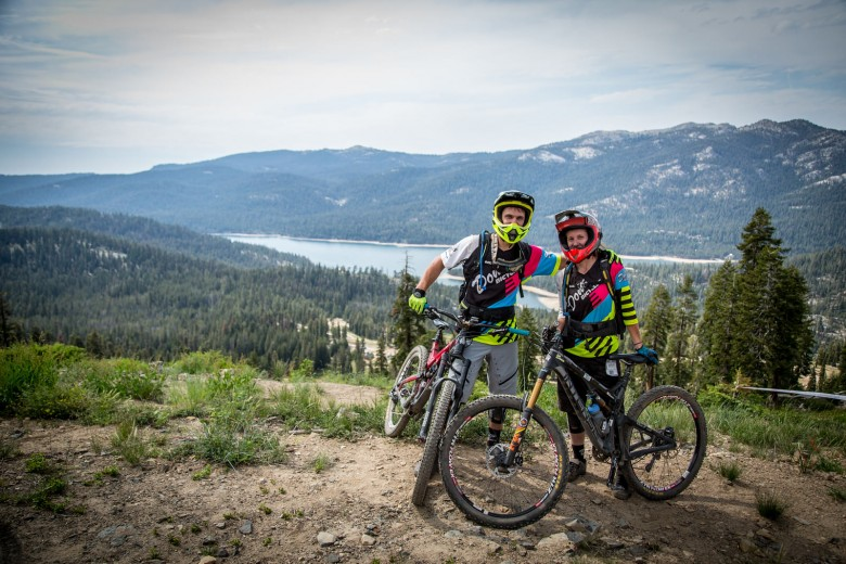 """""""Margeret Gregory and her Husband pose at the top of Stage 4 with Huntington Lake in the background."""""""