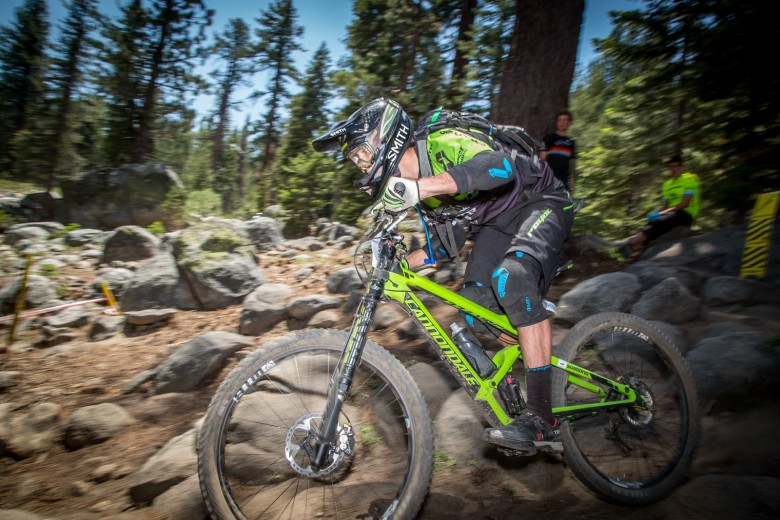 """""""Marco Osborne (WTB/Cannondale Overmountain) during his race run on stage 3 in the rock garden. He finished first in Pro Men."""""""
