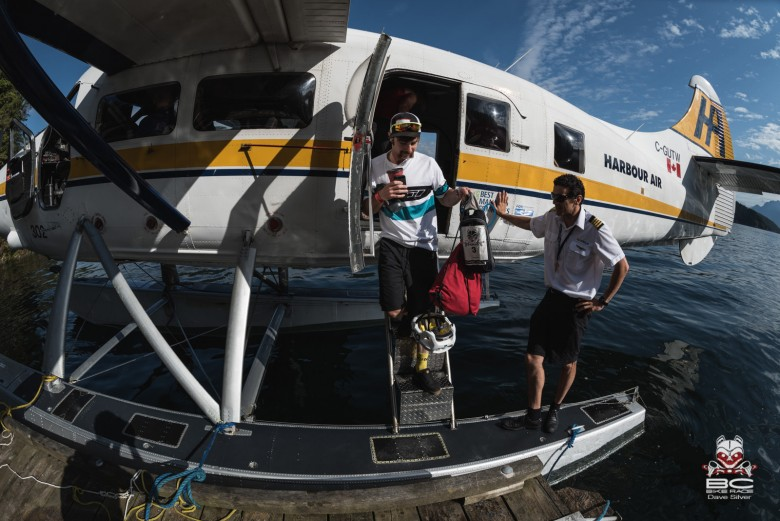 Tristan Uhl got a lift across the water with Harbor Air and he wore matching colors to honor the journey.
