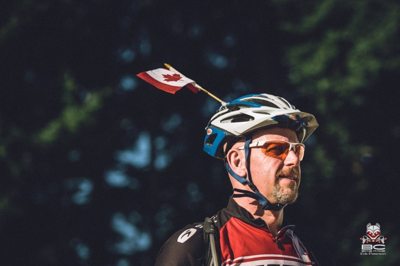 Canada Day at the BC BIke Race comes with tiny flags.