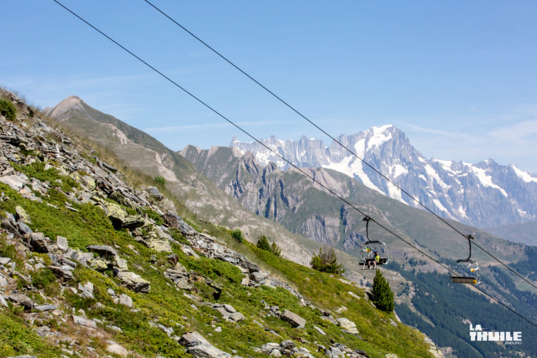 The chair lift offers a beautiful view over La Thuile.