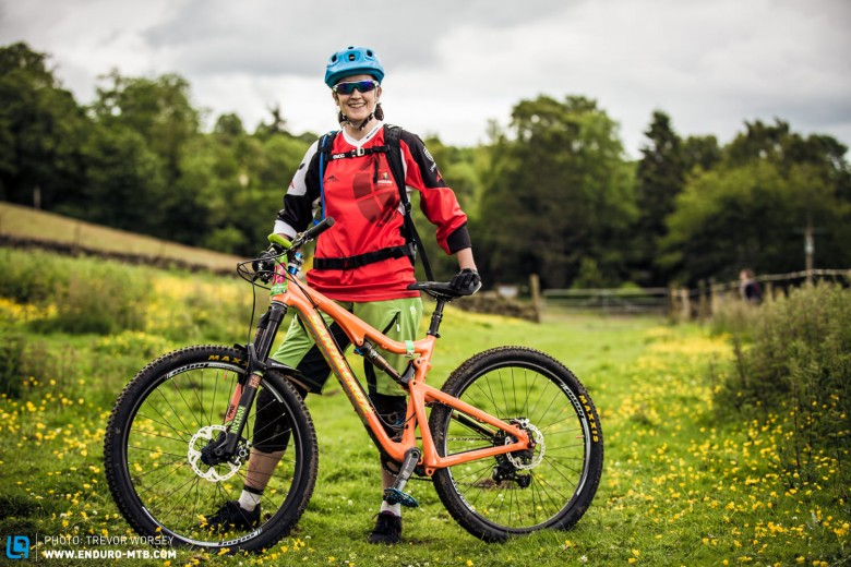 Julie Mulveny was enjoying the fun stages on her Hope hooped Santa Cruz Solo