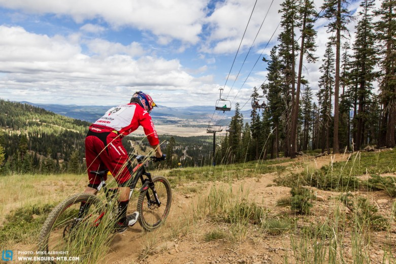 Curtis Keene glides across the 'Flameout' trail near the top of stage #2