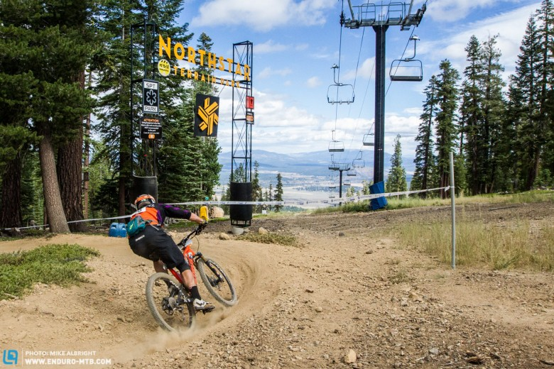 Northstar sits on the north rim of Lake Tahoe and features easily-accessed bike park trails with loose turns and challenging rock sections