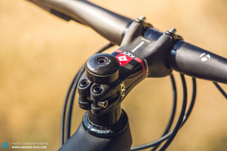 Lightweight 2.0: The new Bontrager stem features just one screw to attach itself to the steerer tube, which might look dangerous but works a treat.
