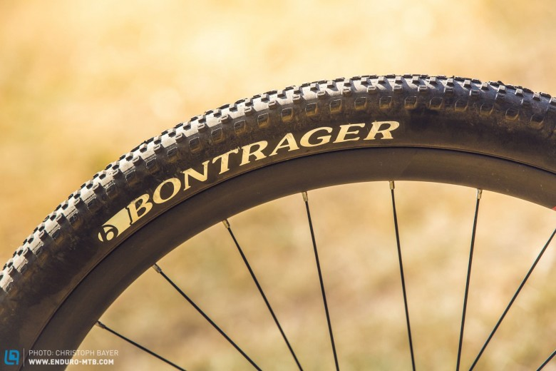 """Adventurous: If aggressively profiled tyres with a width of 2.3"""" are more your thing, then the narrow 2.0"""" Bontrager models with a low profile might raise an eyebrow or two. Braking traction and grip are in short supply on technical terrain, but – on the upside – they are quite speedy."""