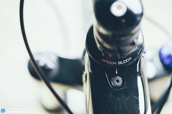 Knock Block: Trek's new Straight Shot down tube does boost frame stiffness, but requires the use of a special headset that limits fork rotation. It works well, but does increase complexity.