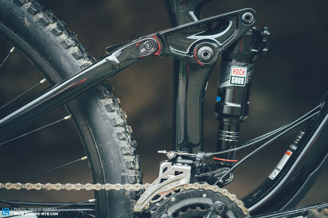Best in test: Trek's Full Floater ABP suspension is class-leading. Active and supportive, it laughs at rocks and big impacts, keeping control while others have lost the plot.