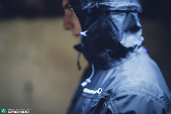 Fully taped seams ensure the jacket does not wick water, and silicone grips help when wearing a backpack.